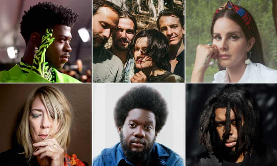 Clockwise from top left, Lil Nas X, Big Thief, Lana Del Rey, Kim Gordon, Michael Kiwanuka and Flying Lotus.
