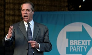 Brexit Party leader Nigel Farage attends a Brexit Party campaign event in Merthyr Tydfil, Wales.