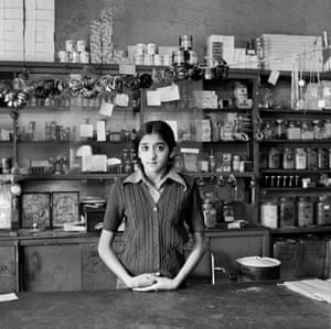 Yaksha Modi in her father's shop before its destruction under the Group Areas Act, Fietas, Johannesburg, 1976.
