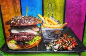 burger and fries at California Tarifa, Tarifa, Spain