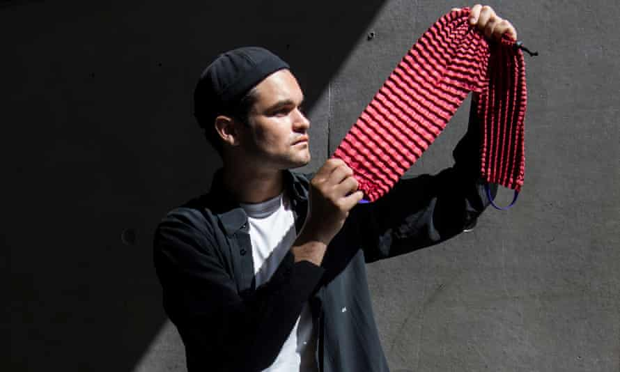 Ryan Yasin, UK winner of the James Dyson award in 2017, with his fabric.