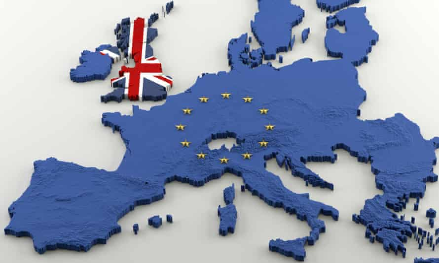 3D Map of European Union post-Brexit and UK, with EU flag (blue and gold stars) and Union Jack texturesExtruded political Map of European Union and United Kingdom with relief after anticipated Brexit. Textures made of Union Jack and EU flags (with gold stars incrusted in EU 3D shape) on a white background.