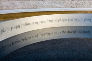 A closeup of Clause 39 from Magna Carta in the artwork Writ in Water.