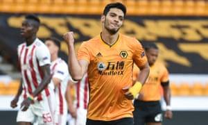 Wolves' Raul Jimenez celebrates after opening the scoring.