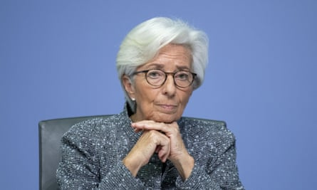 Christine Lagarde, president of the European Central Bank, after the ECB's governing board met in Frankfurt today.