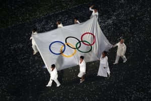 Olympic flag carried by Daniel Barenboim at opening ceremony