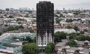 The burnt remains of Grenfell Tower. Police are considering manslaughter charges in relation to the fire.