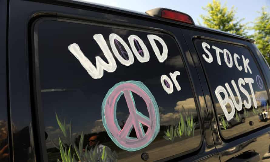 A van at the original Woodstock Festival site in Bethel, New York on 14 August 2009.
