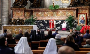 Pope Francis celebrates Palm Sunday Mass in Saint Peter's Basilica at the Vatican City, 28 March 2021.