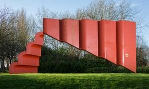 Red welded steel sculpture in geometric shape
