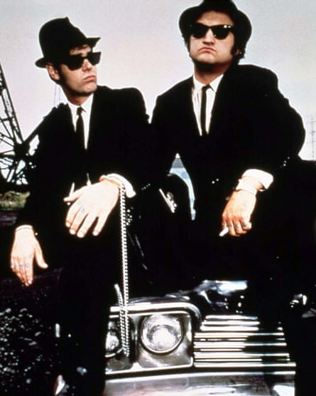 'A Hard-Off-Pin-Down Hybrid of Fact and Fiction' ... Belushi, The Right, with Dan Akroyd in The Blake Brothers.