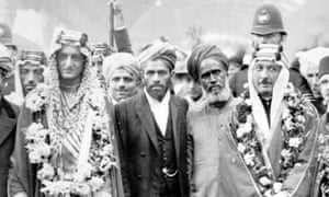 1935: The Crown Prince of Saudi Arabia (far left) on a visit to London's Fazl mosque, the first purpose-built mosque in the capital.
