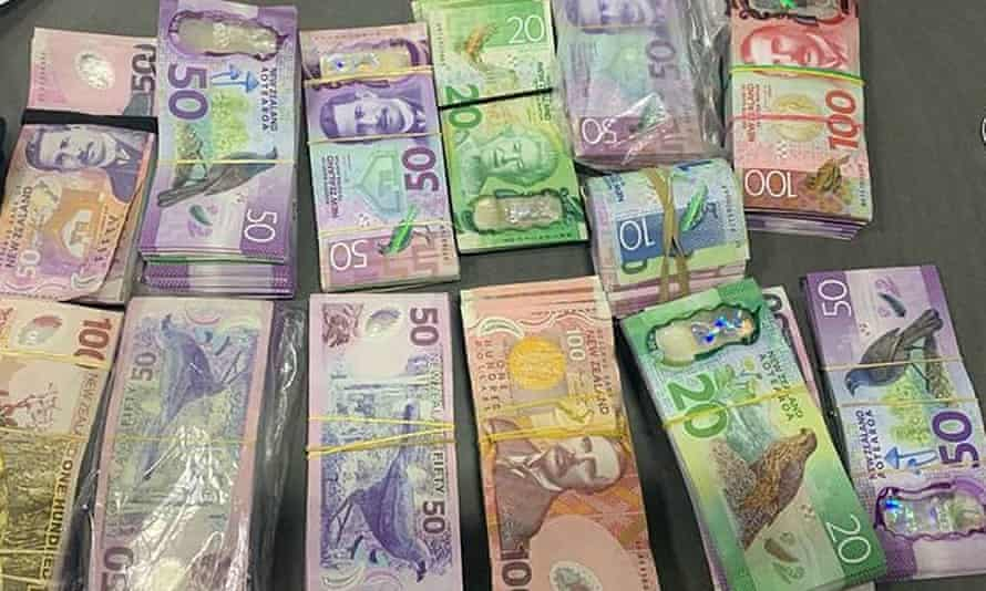 The $100,000 in cash found by New Zealand police when they arrested two men trying to enter Auckland.