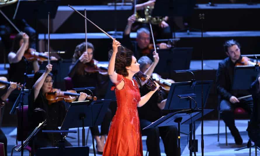 Violinist Patricia Kopatchinskaja performs at the BBC Proms.