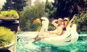 Calvin Harris and Taylor Swift on inflatable swan