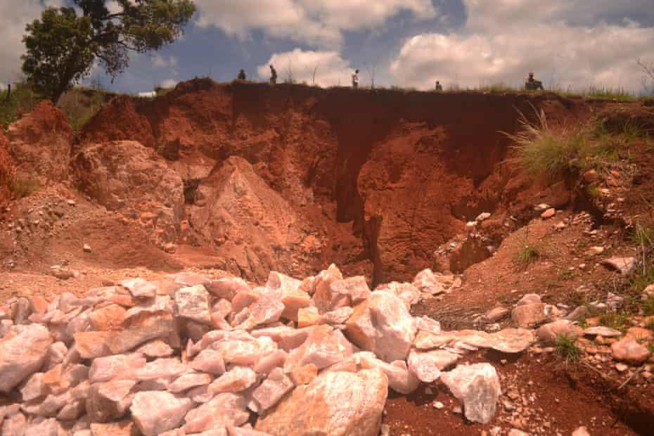 Rose quartz lies in the sun at the edge of a mine near Anjoma Ramartina in Madagascar.