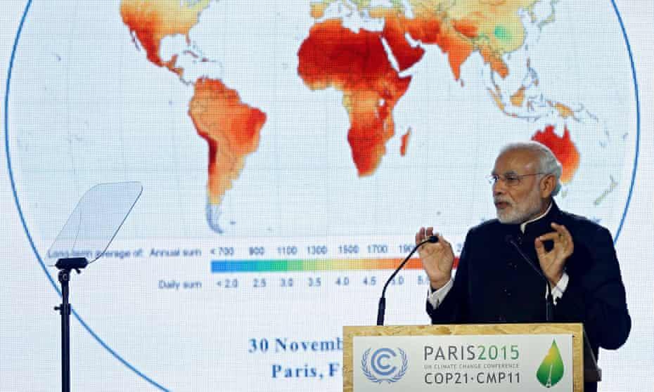 India's prime minister, Narendra Modi, delivers a speech at the COP21 Paris talks.