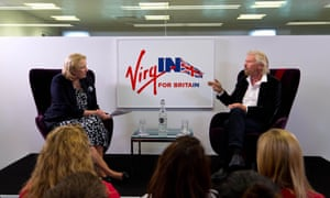 Gadhia interviewing Branson about his views on the EU referendum in June 2016