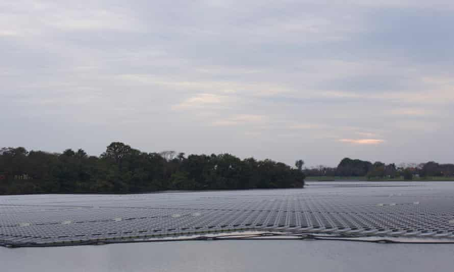 Yamakura dam mega solar plant in Ichihara, Chiba prefecture. The plant, the biggest of its kind in Japan, began operating in March.