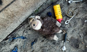 A toy and debris left behind in the Jungle in Calais, France
