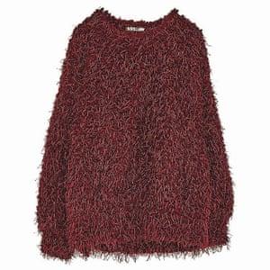 red furry jumper crew neck Zara