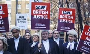 Barristers and lawyers protest against government cuts to legal aid fees.