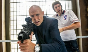 Sacha Baron Cohen and Mark Strong in Grimsby.