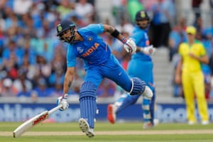 Kohli makes it back to complete the run for Shikhar Dhawan to complete his century.