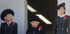 Queen Elizabeth II, Camilla, the Duchess of Cornwall, and Kate, the Duchess of Cambridge attend the ceremony at the Cenotaph