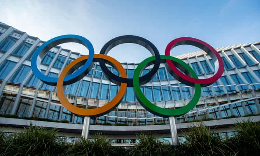 The Olympic Rings outside the International Olympic Committee (IOC) headquarters in Lausanne, Switzerland