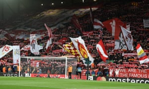 Liverpool supporters in the Kop at Anfield