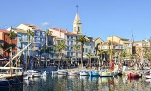 Waterfront with sailboats in Sanary sur Mer, France.