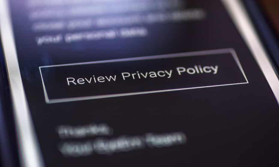 'Review privacy policy' message on phone