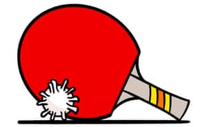 Illustration of a table tennis bat with  a ball shaped like a cornovarius