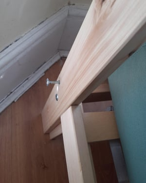 A very large bolt sticks out of Yvonne's bed. It is one of two key bolts that should be holding the bed up.