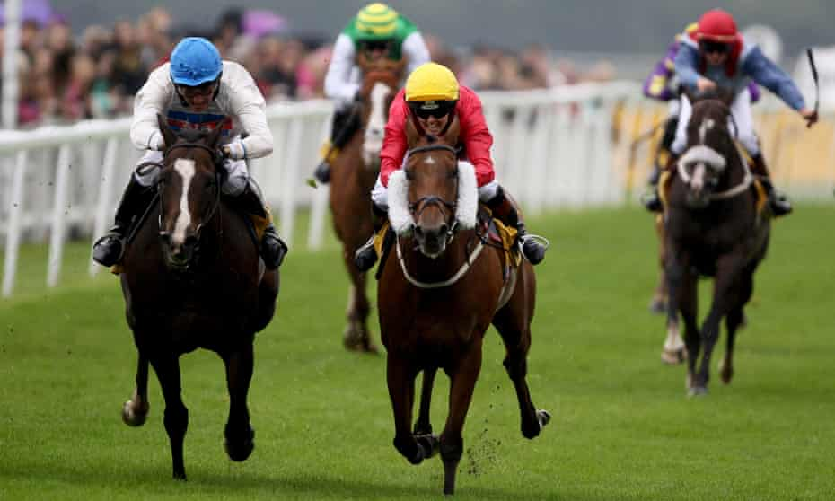 Victoria Pendleton, right, is beaten a head on Royal Etiquette in her first race at Ripon on Monday.