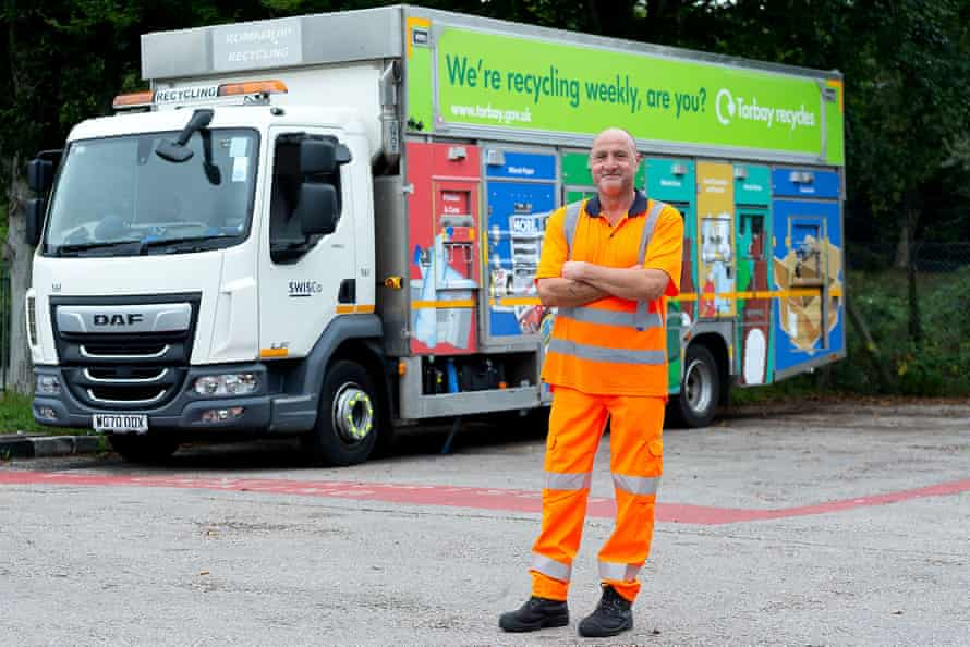 Andy Gee with his recycling truck in Torbay, Devon.