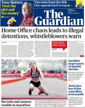Guardian front page 290418