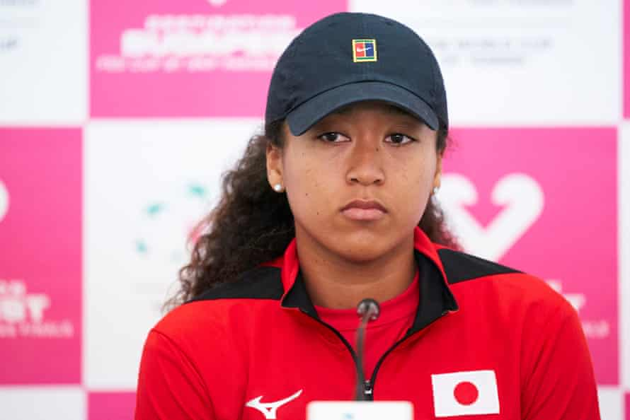 Naomi Osaka attending a post-match press conference in Spain in February 2020