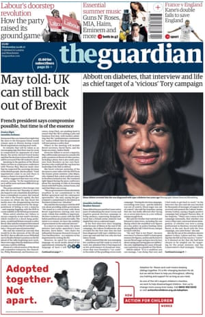 Guardian front page, 14 June 2017