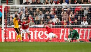 Wolverhampton Wanderers' Ivan Cavaleiro scores their first goal