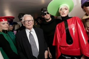 Pierre Cardin and models wearing creations from his collections at Palais Bulles, October 2008.
