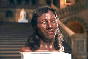 cheddar man bust at the natural history museum in london