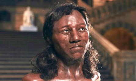 Facial reconstruction of Cheddar Man, who lived 10,000 years ago and had dark brown skin and blue eyes.