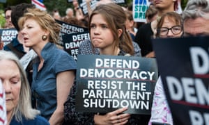 Protests in London against the  suspension of parliament