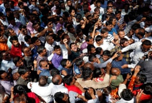 Protesting teachers demand a hike in their salaries outside the state assembly building in Gandhinagar, Gujarat, India