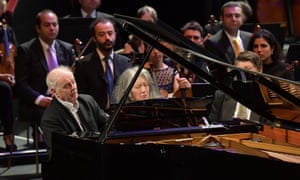 One grand, two greats: Daniel Barenboim and Martha Argerich at the keyboard for their Proms encore.