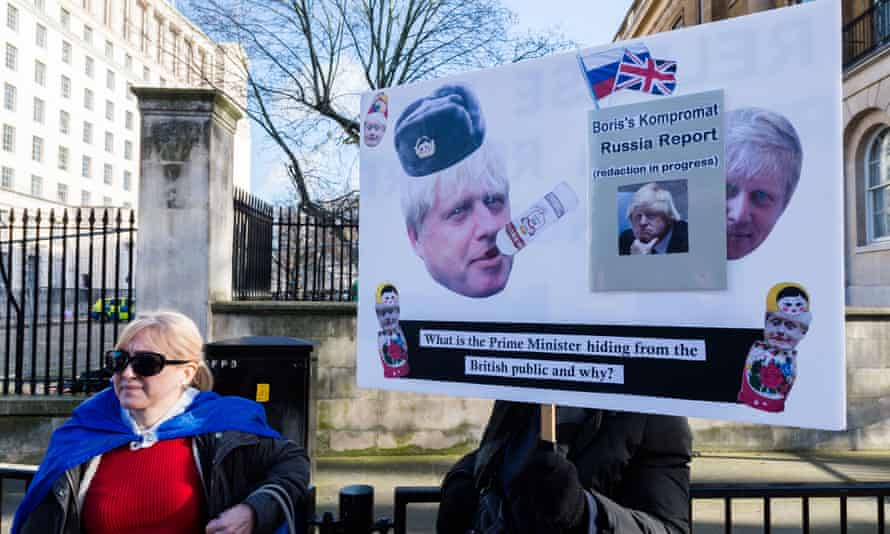 Anti-Brexit supporters protest outside Downing Street in Westminster urging Prime Minister Boris Johnson to release the report from the intelligence and security committee examining Russian infiltration in British politics.
