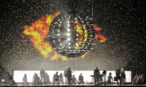 Great ball of fire … Take That Let in the Sun on stage