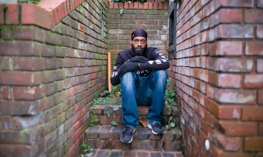Roy Harrison in a bin shed in Croydon, south London